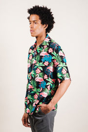 Men's Flamingo Print Woven Shirt
