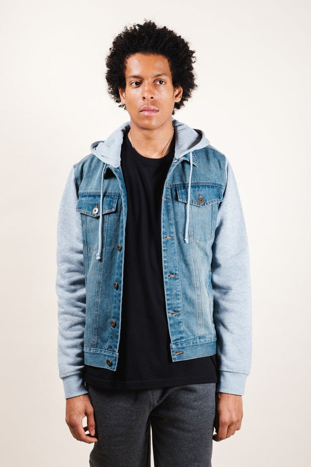 Heather Grey Hooded Denim Jacket for Men