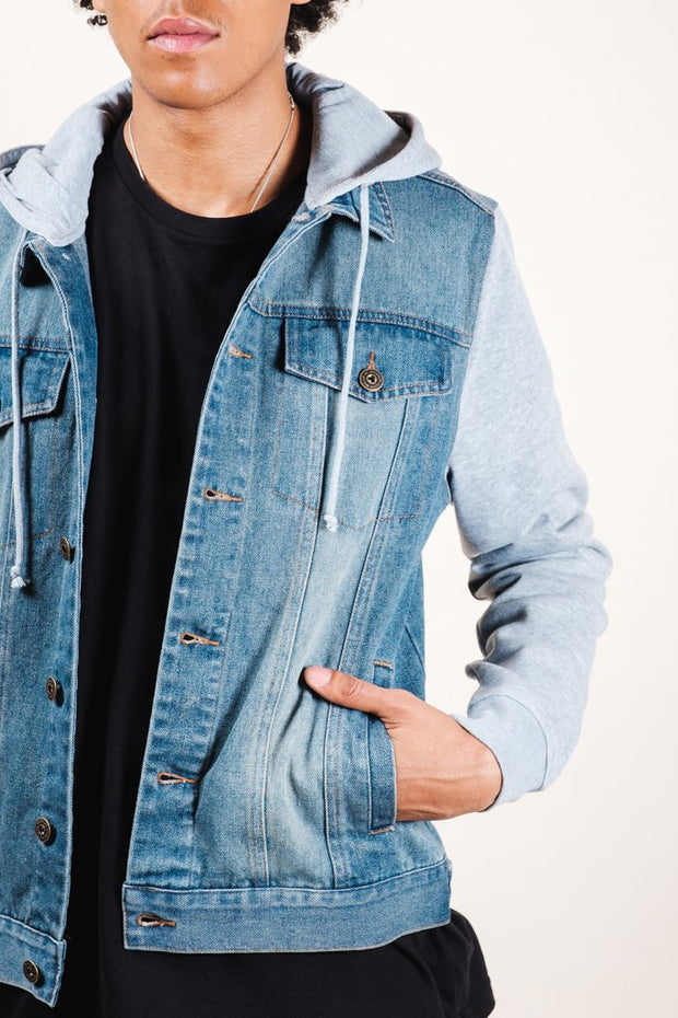 Heather Grey Hooded Denim Jacket