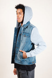Men's Heather Grey Hooded Denim Jacket