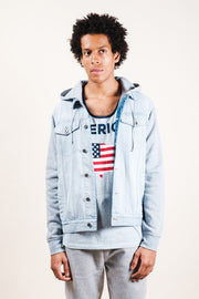 Men's Light Wash Hooded Denim Jacket
