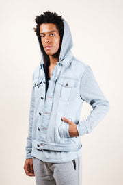 Light Wash Hooded Denim Jacket for Men