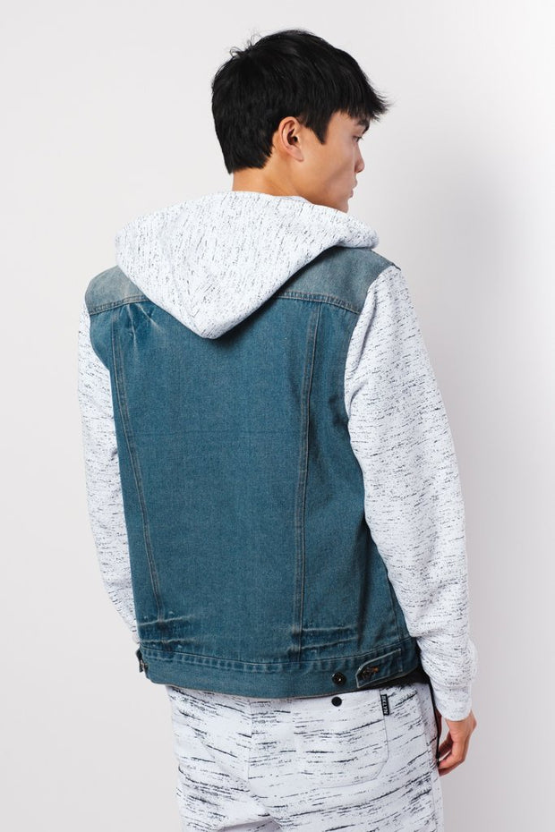 Space Dye Print Sleeve Denim Jacket