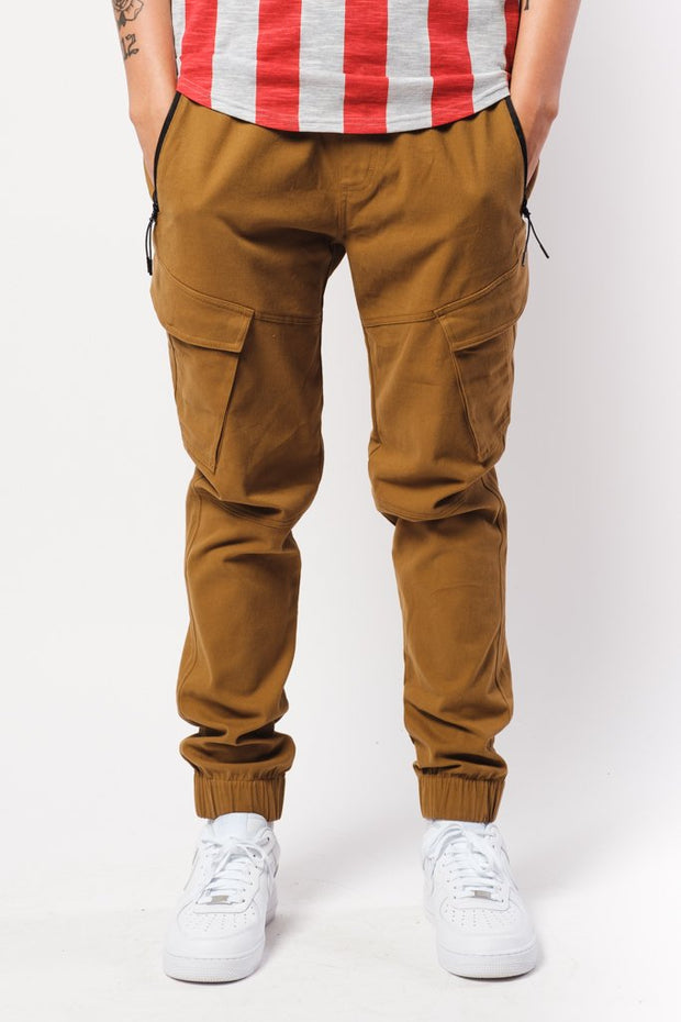 Tobacco Cargo Twill Jogger Pants