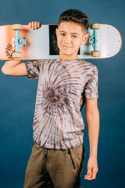 Black Spiral Tie Dye T-Shirt for Boys