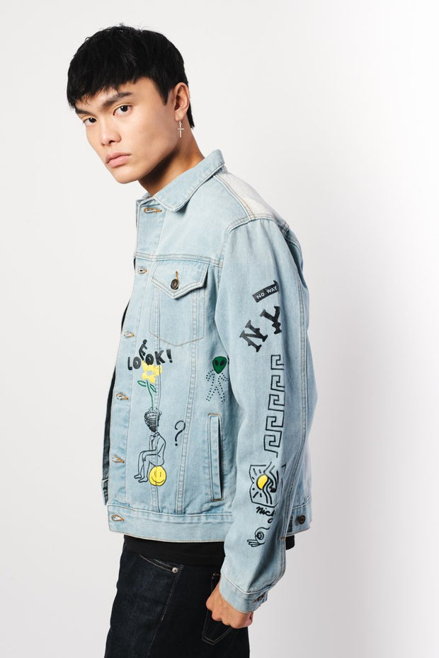 Doodle Allover Denim Jacket