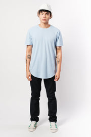 Dusty Blue Moto Side Zipper Tee