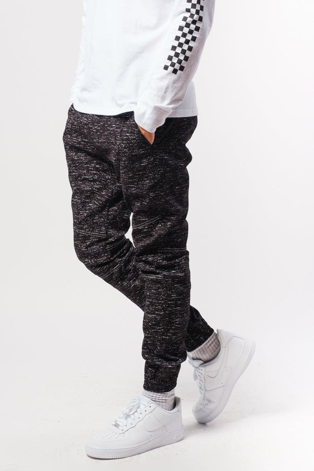 Core Black Space Dye Twill Jogger Pants