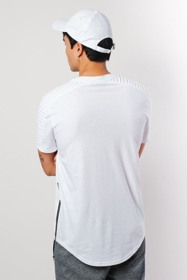 White Moto Side Zipper Tee
