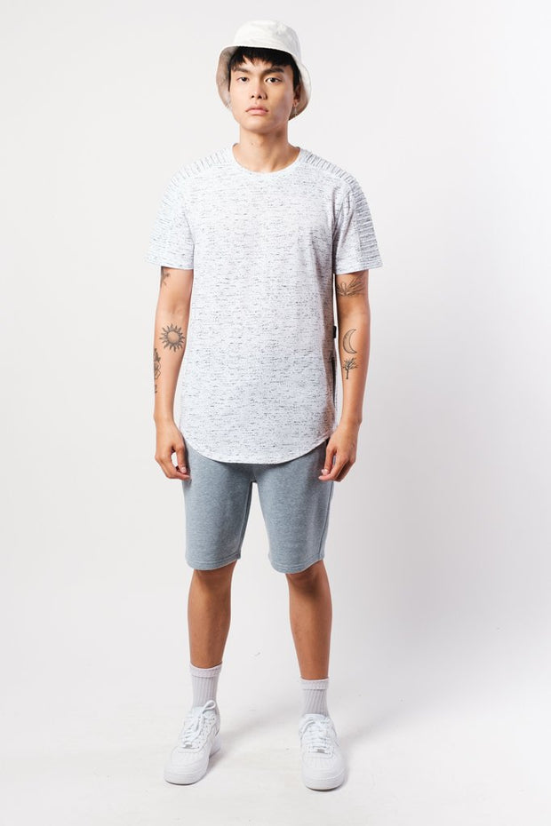 White Space Dye Moto Side Zipper Tee