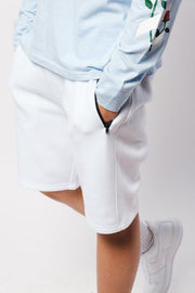 White Zip Pocket Knit Shorts