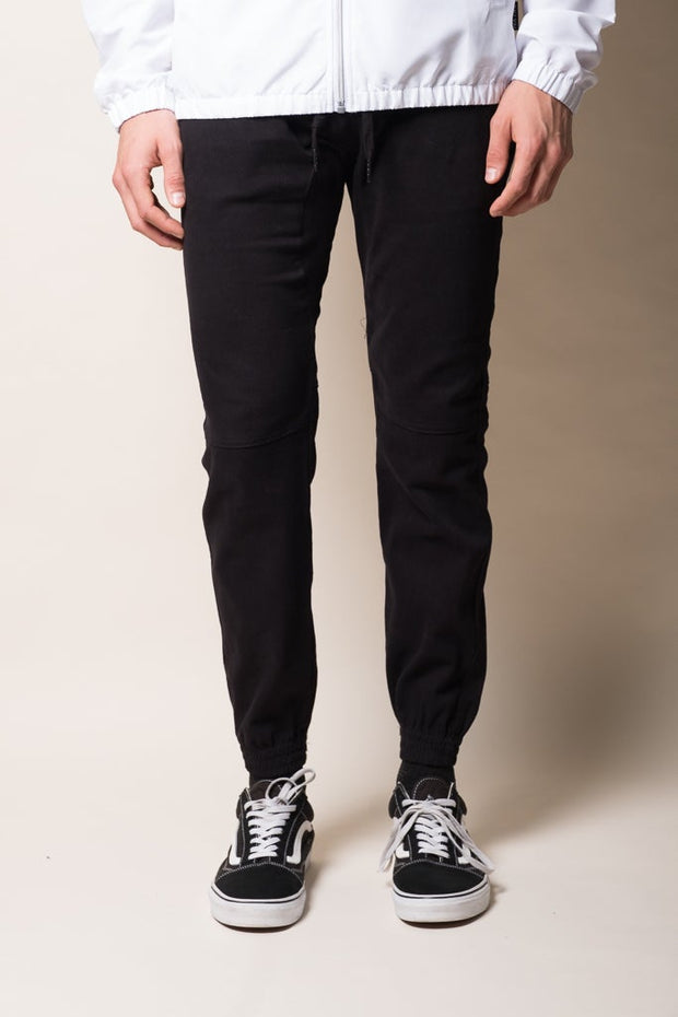 Black Twill Jogger Pants for Men