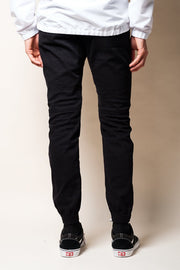 Black Mens Twill Jogger Pants