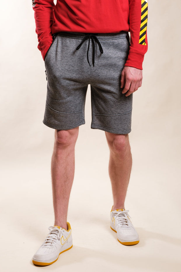 Black Marl Slant Zipper Pocket Shorts