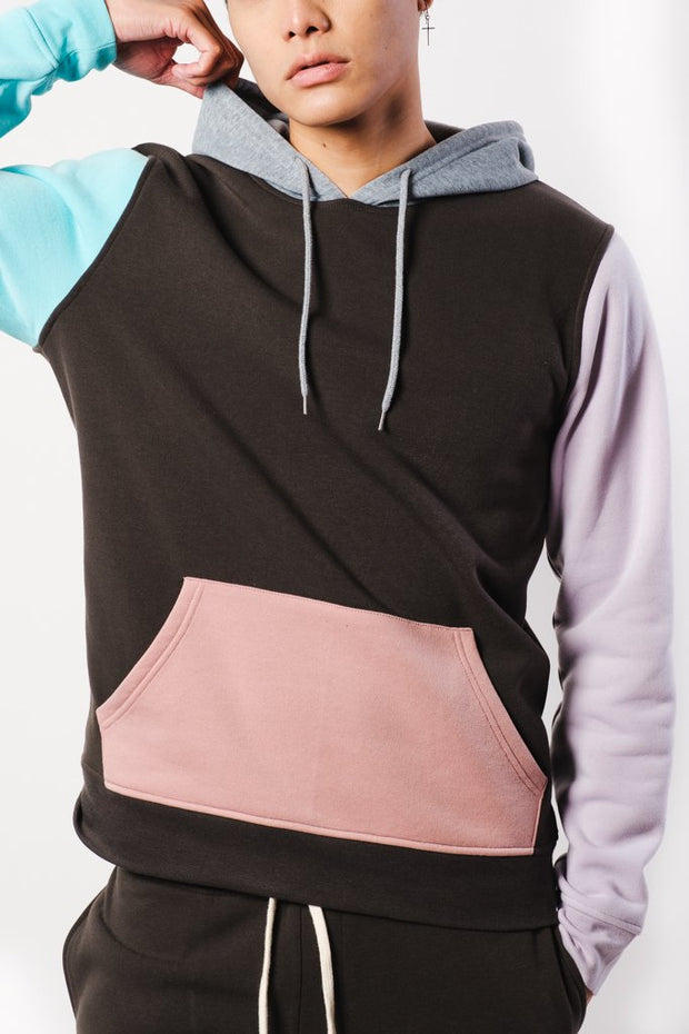Multi Color Blocked Hoodie