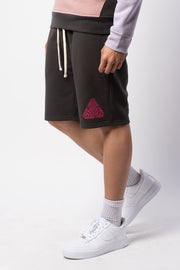 Dusty Black Good Vibes Print Fleece Shorts