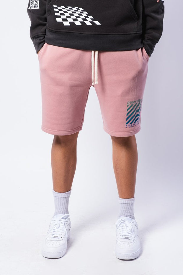 Dusty Rose Good Vibes Fleece Shorts