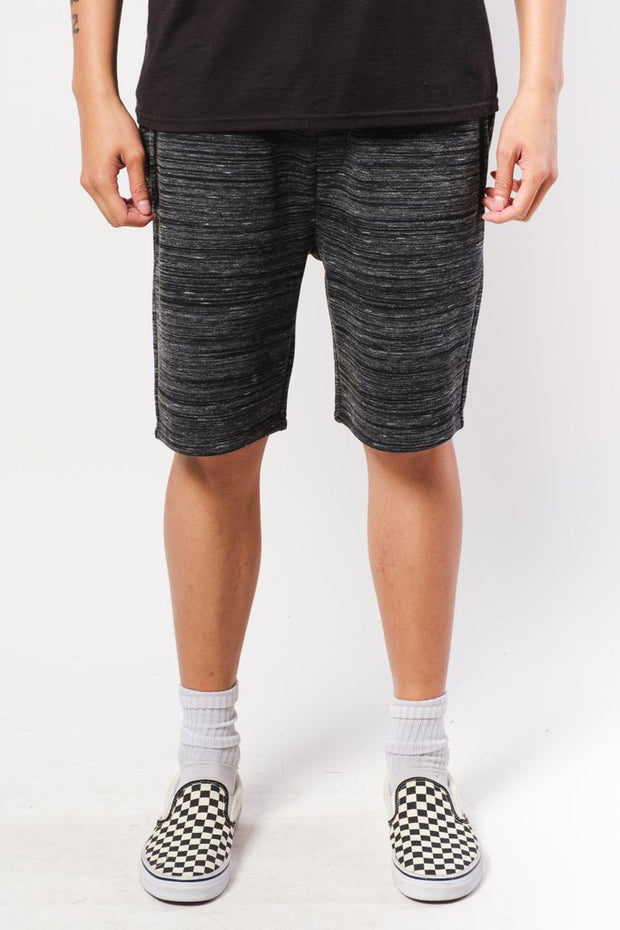 Black Space Dye Zip Pocket Shorts