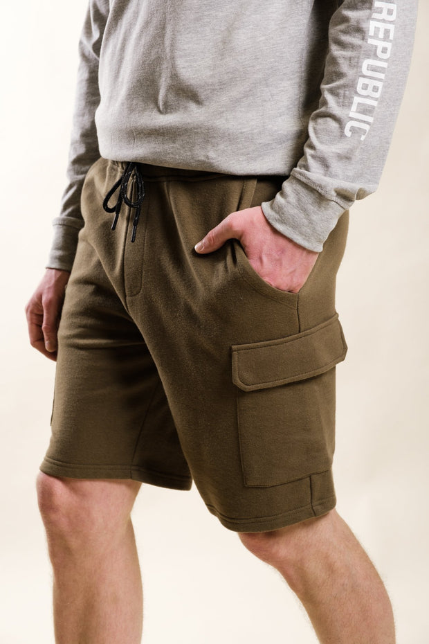 Olive Fleece Cargo Shorts