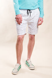 White Printed Space Dye Slant Zipper Pocket Shorts