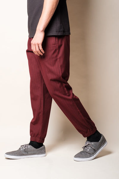 Wine Pinstripe Jogger Pants for Men
