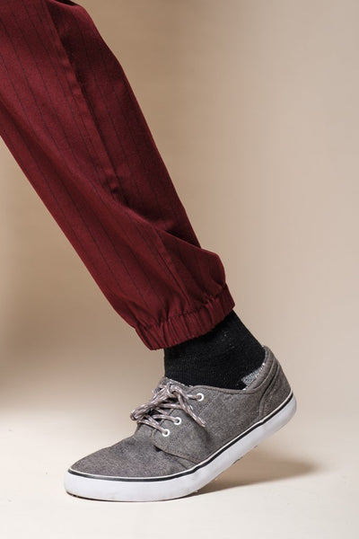 Brooklyn Cloth Wine Pinstripe Jogger Pants for Men