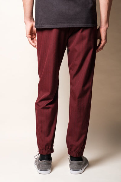 Brooklyn Cloth Wine Pinstripe Men's Jogger Pants