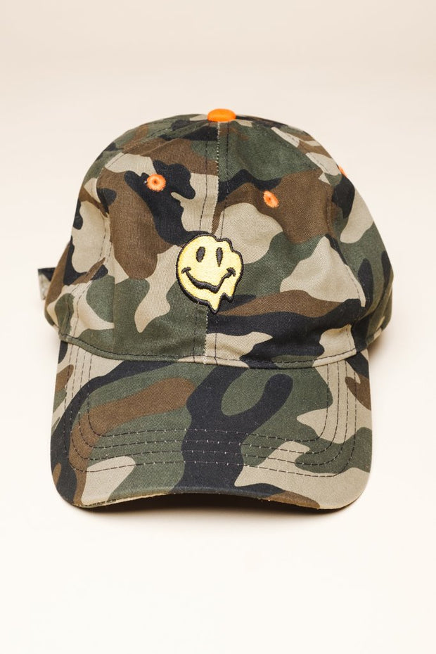Camo Smiley Face Dad Hat