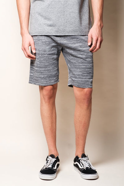Light Grey Slub Space Dye French Terry Shorts