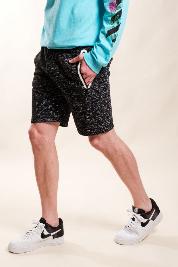 Black Printed Space Dye Heat Seal Shorts