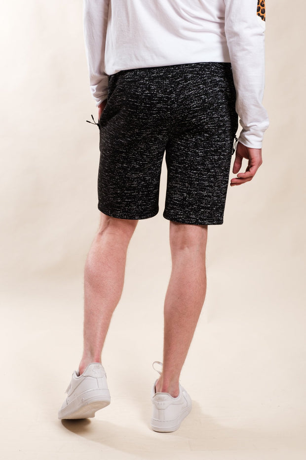Black Printed Space Dye Slant Zipper Pocket Shorts