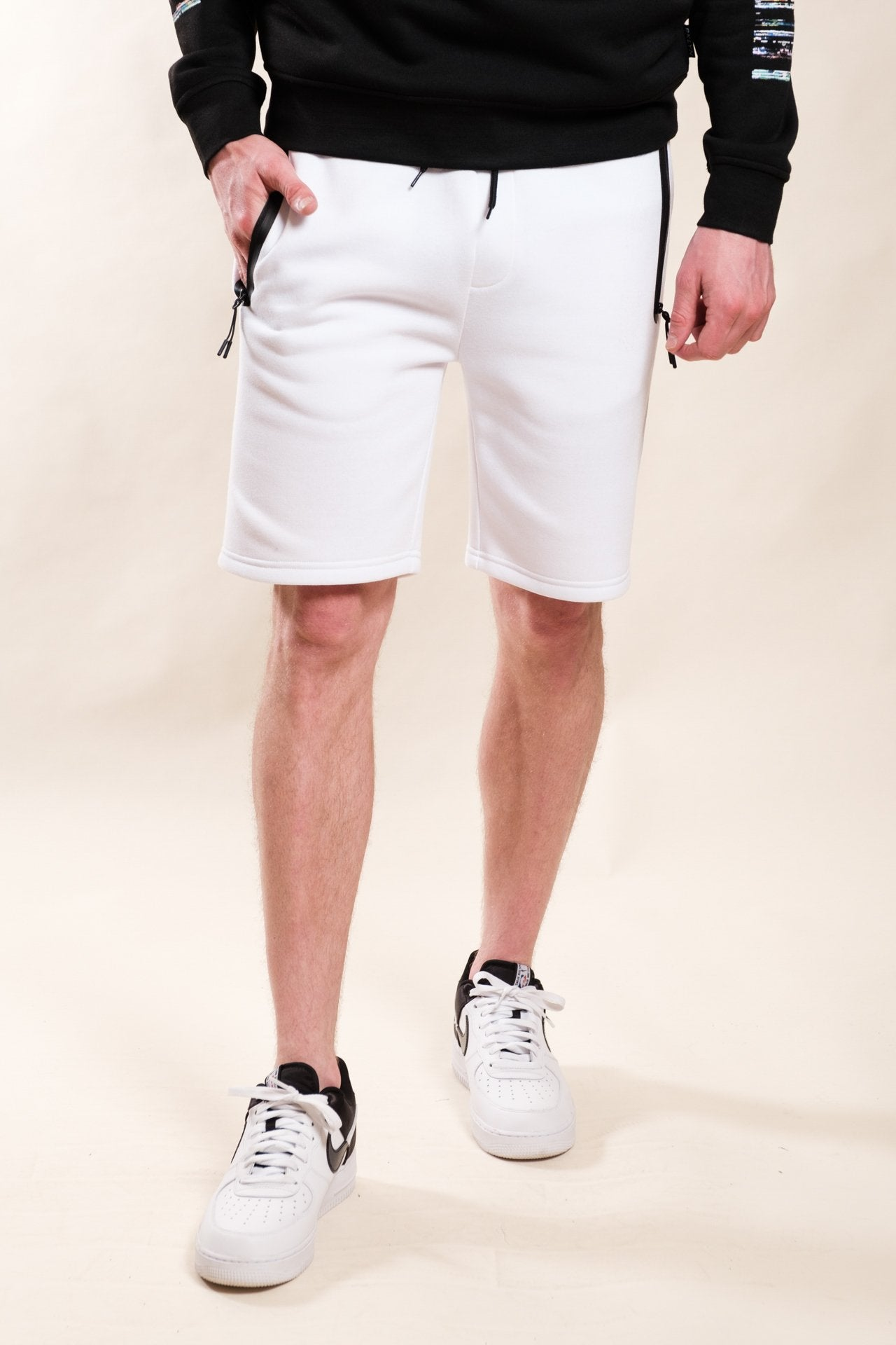 White Heat Seal Zipper Pocket Shorts