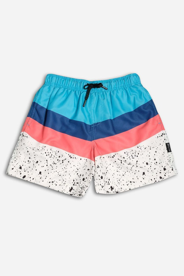 White Chevron Paint Swim Trunks