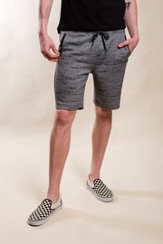Black Marl Streaky Print Zip Pocket Shorts