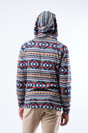 Red Beam Stripe Cozy Fleece Hoodie