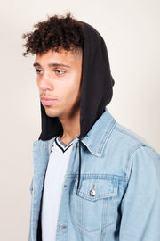 Hooded Denim Trucker Jacket for Men