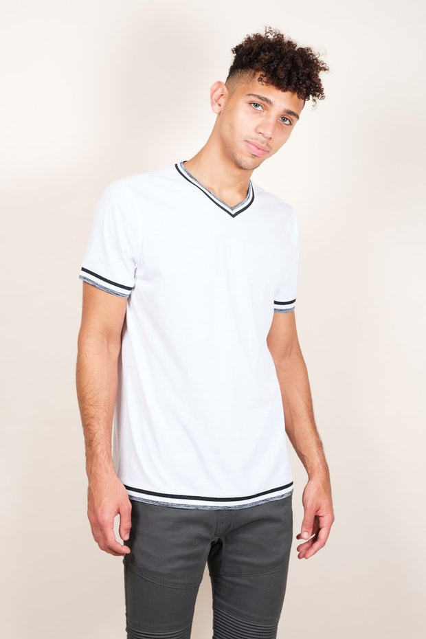 White Retro Jersey V-Neck Tee