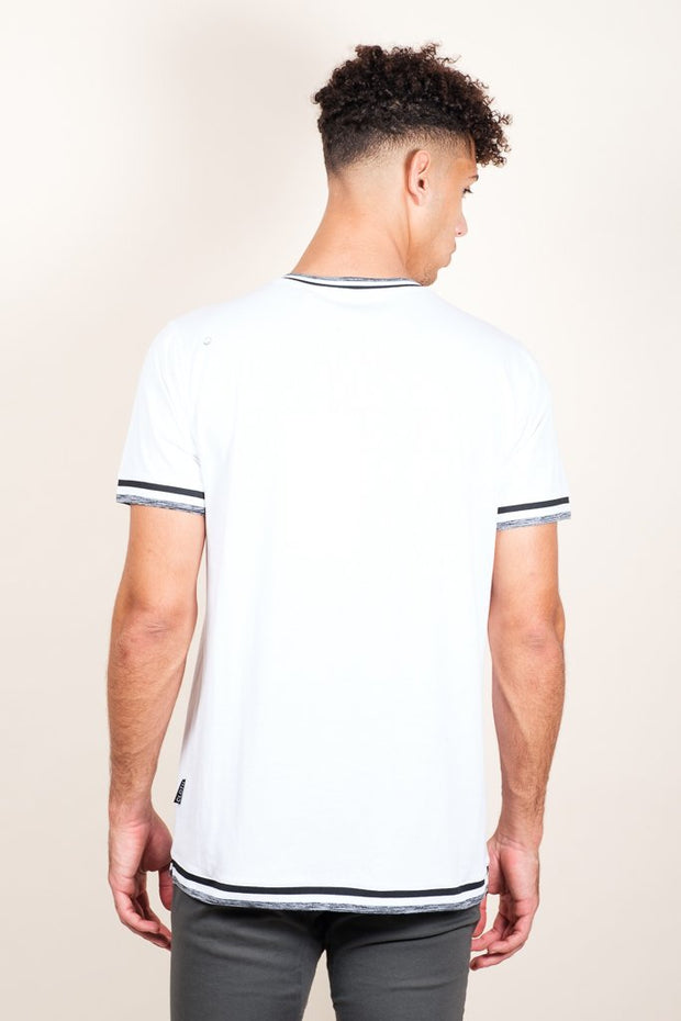 Brooklyn Cloth White Retro Jersey V-Neck Tee for Men