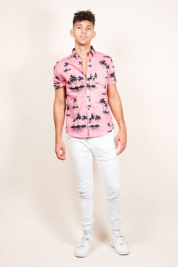 Brooklyn Cloth Pink Palm Tree Woven Shirt