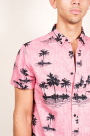 Pink Palm Tree Woven Shirt