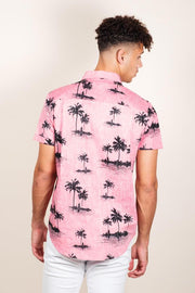 Pink Palm Tree Woven Shirt for Men