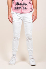 White Twill Jogger Pants for Men