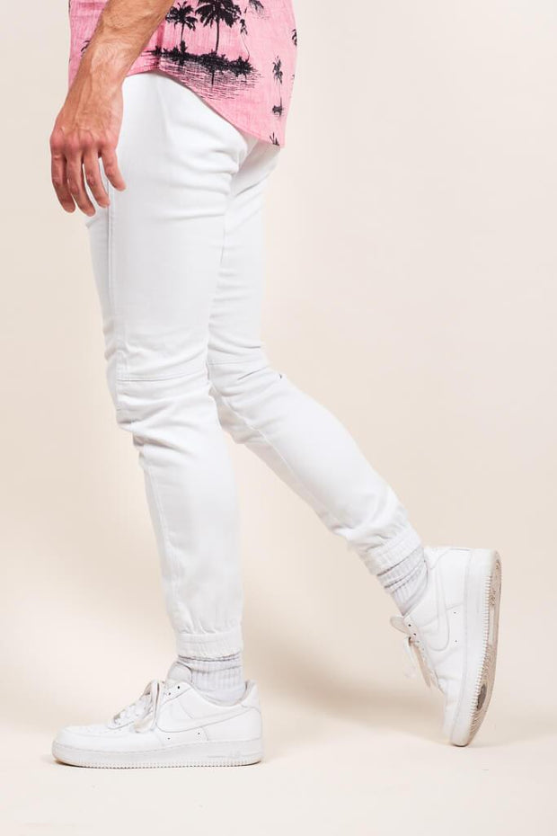 White Twill Jogger Pants