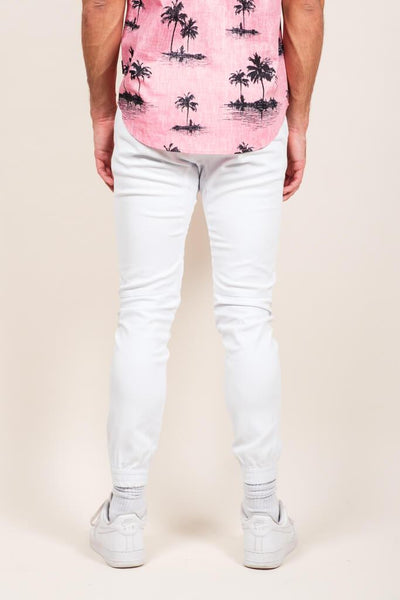 Brooklyn Cloth White Twill Jogger Pants for Men