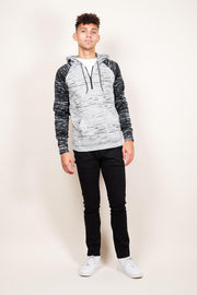 Brooklyn Cloth Black Marl Cozy Knit Raglan Hoodie for Men