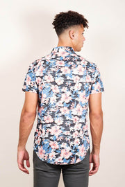 Pink Floral Print Woven Shirt for Men
