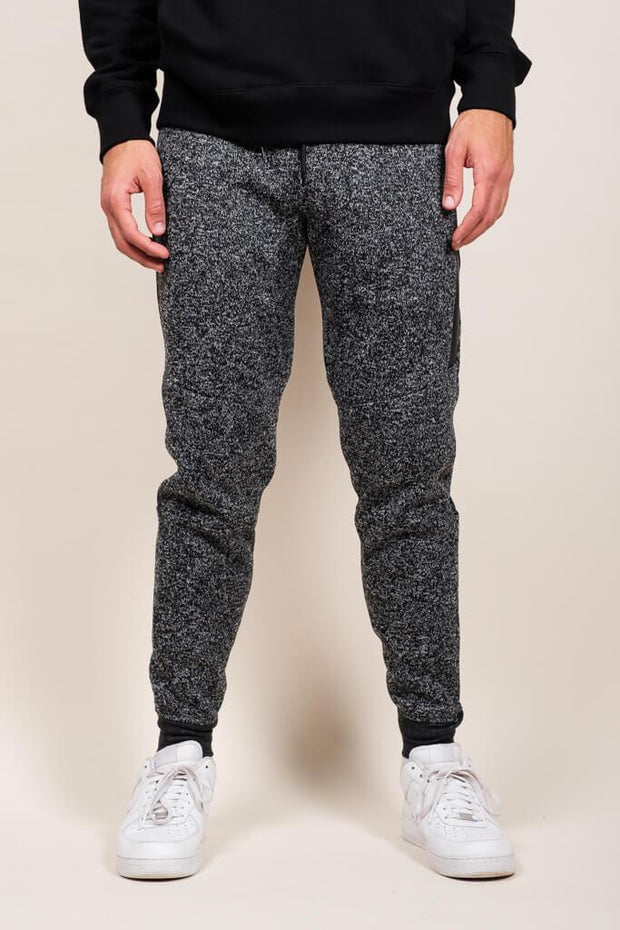Black Marl Heat Sealed Jogger Pants