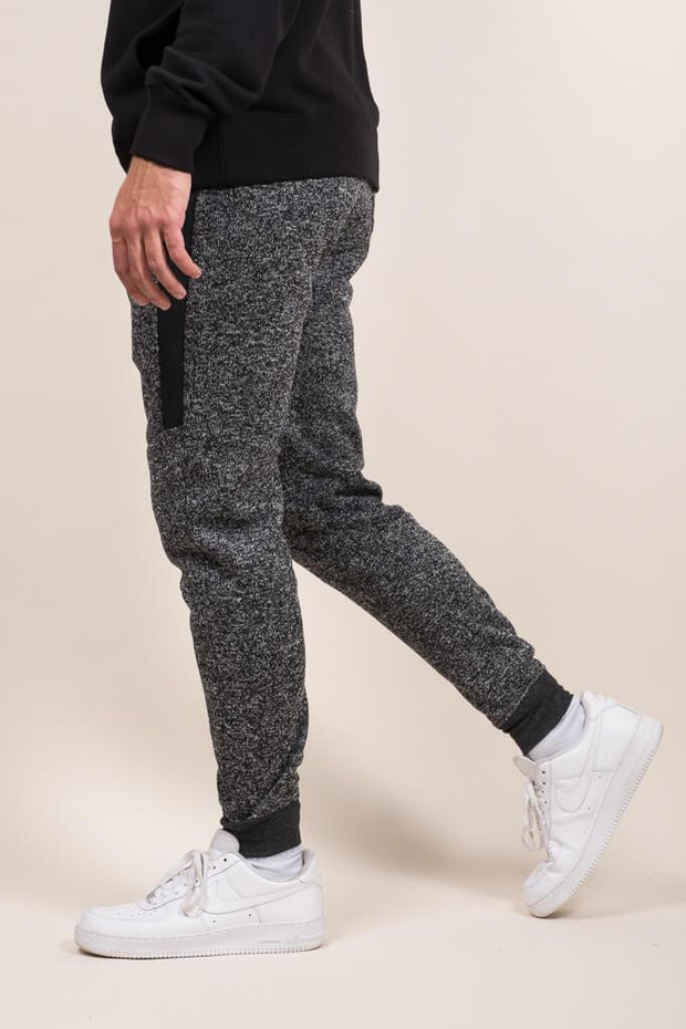 Black Marl Heat Sealed Zip Cozy Knit Joggers