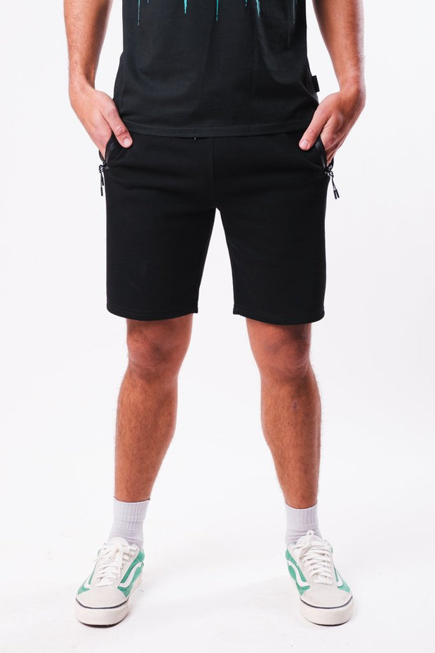 Black Heat Seal Zip Pocket Shorts