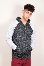 Black Space Dye Cozy Raglan Hoodie for Men